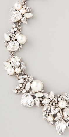 Pearls and Crystal...Perfect together! ....Erickson Beamon White Wedding Necklace