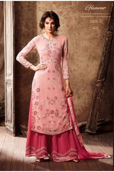 Georgette Pink Attractive Palazzo Suit - 34005-A