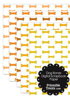 Orange Dog Bone Digital Scrapbook Paper from PrintableTreats.com