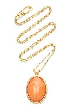 PAMELA LOVE ONE OF A KIND 18K GOLD AND CORAL SCARAB NECKLACE. #pamelalove