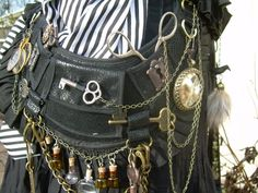 Before pockets were common, women would use belts or chatelaines to hold needed items