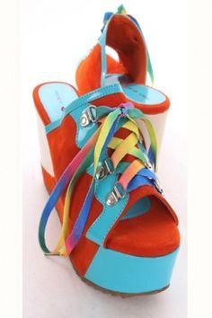 Orange Velvet Faux Patent Leather Colorblock Lace Up Tie Platform Wedges
