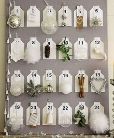 white xmas advent via loe nordic design Nordic Christmas, Noel Christmas, Christmas And New Year, All Things Christmas, White Christmas, Christmas Crafts, Christmas Decorations, Christmas Ornaments, Holiday Decor
