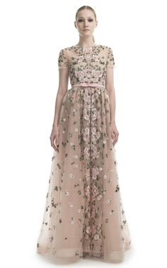Floral Embroidered Short Sleeve Evening Gown by Valentino for Preorder on Moda Operandi