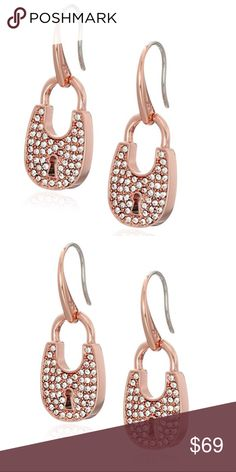 New Authentic MK drop Rose Gold Earrings Drop earrings featuring polished stainless steel padlock pendants set with sparkling pave crystals Fishhook backing Michael Kors Jewelry Earrings