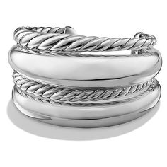 David Yurman Pure Form Four Row Cuff (2 275 AUD) ❤ liked on Polyvore featuring jewelry, bracelets, sterling silver cuff bangle, sterling silver bangles, sterling silver jewellery, cuff jewelry and sterling silver jewelry