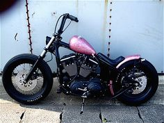 Found @Laura Jayson Jayson Jayson Jayson Reaux a bike! pink metalflake hardtail sportster custom by Crazy Orange M/C