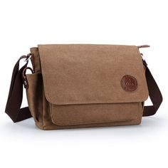 OXA Durable Fashion Vintage Canvas Messenger Bag Laptop Bag Ipad Bag Bookbag Satchel Crossbody Bag Shoulder Sling Bag Shopping Bags Outdoor Sports Travel Casual Weekend Bag for Men and Women Brown
