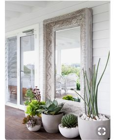 Concrete and white Pots with statement cactus / succulent plants and white pebbles set at the foot of this timber carved outdoor mirror. The Grove Byron Bay . Visit our site for Indoor Garden Tool Set! Decor, Home And Garden, Garden Design, Outdoor Mirror, Outdoor Space, Indoor Garden, Outdoor Living, Potted Plants, Indoor Plants