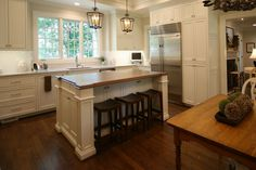 Classic white kitchen by Walker Woodworking. This open classic white kitchen allows plenty of light to reflect off the white custom cabinets. Classic White Kitchen, Kitchen White, Kitchen And Bath, Inset Cabinets, Custom Cabinets, Organizing Ideas, Home Organization, Closet Office, Drop Zone