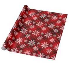 Pretty Snowflakes on Plaid   red Gift Wrap (pinned by haw-creek.com)