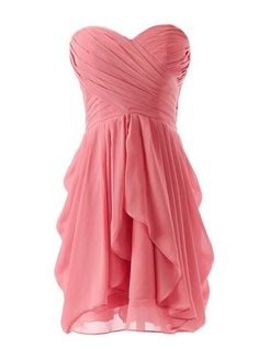 Custom A-Line Bridesmaid Dresses Short Chiffon Sweetheart Open Back Cocktail Prom Dresses School Gowns