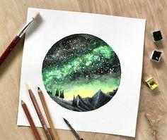 "Original Watercolor Painting, Handmade, ""Gem Green Galaxy Circle"""