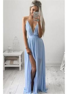 USD$99.00 - Sexy Deep V-neck Baby Blue Prom Dresses Chiffon Spaghetti Straps Maxi Dress - www.babyonlinedress.com