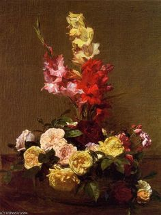 """Gladiolas and Roses"" by Henri Fantin Latour (1836-1904, France)"
