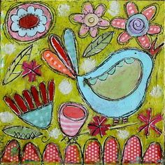 Garden Floral Bird Mixed Media Folk Art Original by GinaMcKinnis. $45.00, via Etsy.