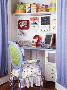 Turn a closet into a functional workstation. Create a desk by installing a low shelf and adding filing cabinets underneath. Paint the shelf to make it more inviting. On the top shelf, fill boxes and baskets with school supplies. Add bins and messages boards to the wall between the two shelves for extra storage and display space.