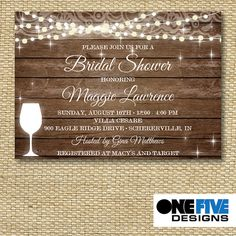 Rustic Bridal Shower Invitation String Lights on by OneFiveDesigns Winery Wine Tasting boho bohemian