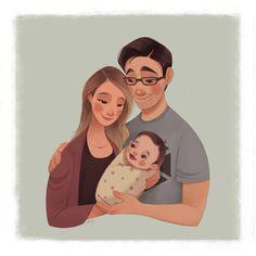 Family Illustration, Portrait Illustration, Character Illustration, Family Drawing, Family Painting, Cartoon Girl Drawing, Cartoon Art, Character Design Animation, Character Art