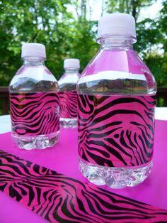 DIY Pink zebra duct tape water bottle wraps