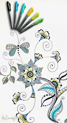 I admire those who have the patience to do drawings like these. Henna-inspired doodles on cabinet using Infinity Permanent Markers from Atop Serenity Hill Tangle Doodle, Tangle Art, Doodles Zentangles, Zen Doodle, Zentangle Patterns, Doodle Art, Doodle Patterns, Doodle Borders, Doodle Designs