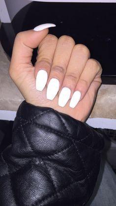 White Matte Coffin Shape Acrylic Nails