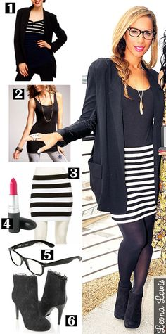 Kacie's Kloset: black and white striped skirt   black top   bright ...