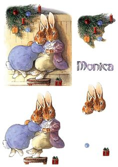 Delightful Christmas bunnykins by Monica decoupage Christmas Decoupage, 3d Christmas, Christmas Paper Crafts, Christmas Animals, Vintage Christmas, Beatrix Potter, Peter Rabbit And Friends, Image 3d, Decoupage Printables