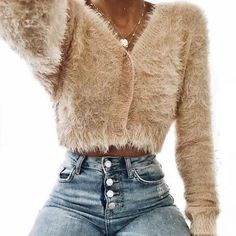 1701a2f5130 Women Sexy Tops Jackets Solid V-neck Plush Fluffy Long Sleeve Cropped Coat  Autumn Ladies