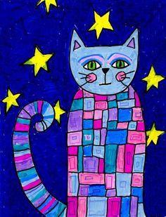 Pattern Cat Art Projects for kids - Pattern cat with Markers Splat Le Chat, Square 1 Art, Arte Elemental, Animal Art Projects, 2nd Grade Art, Second Grade, Tech Art, Kindergarten Art, Art Lessons Elementary