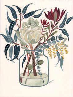 White King Protea and Blue Gum in Glass Vase - Art Lovers Australia Australian Native Flowers, Australian Art, Botanical Drawings, Botanical Art, Protea Art, Guache, Plant Illustration, Floral Illustrations, Lovers Art