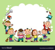 Group of children vector image on Creative Writing For Kids, School Border, Kids Awards, Sunday School Crafts For Kids, Boarder Designs, Powerpoint Background Design, Kindergarten Art Projects, Kids Background, School Frame