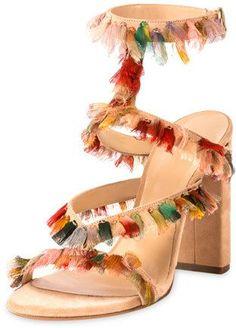 d91e1f2cd6e8 Chloe Suede Sandal with Colorful Fringe