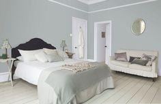 Dulux Valentine : un duo de peintures mates grises pour une chambre romantique - Plus de photos sur Côté Maison http://petitlien.fr/73mc