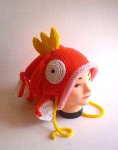 Pokemon Magikarp Hat Size Baby to Adult от ByBCrocheterie на Etsy Pokemon Hat, Baby Pokemon, Costumes Pokemon, Magikarp Hat, Pokemon Merchandise, Knitted Hats, Crochet Hats, Otaku, Crochet Cross