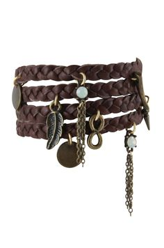 Buffalo Stance Wrap Bracelet in Brown and Brass