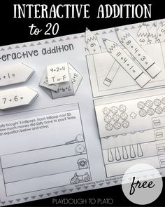 FREE Addition to 20 Interactive Notebook. Super fun, active way to practice addition facts to 20.