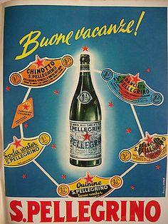 Vintage Italian Posters ~ #illustrator #Italian #posters ~ San Pelligrin poster