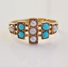 724 Stunning Antique Victorian 18ct Gold Turquoise & Pearl Ring c1890; UK Size 'O'
