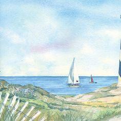 Coastal Waters Volume II Hydrangeas Wallpaper Border CTB - Discontinued lighthouse border