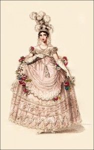"La Belle Assemblée April 1817 ""Court Dress with the New Hoop"" French Fashion, Vintage Fashion, Regency Dress, Regency Era, Court Dresses, 18th Century Fashion, 19th Century, Oui Oui, Marie Antoinette"