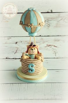 Hot Air Balloon Cake Topper, Teddy Bear Cake Topper, Aviator Birthday Party www.etsy.com/shop/sugarpatchtoppers