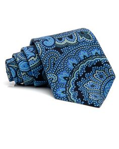 Kiton Navy and Light Blue Paisley Tie 59'' long 3.5'' wide 100% silk Handmade in Italy