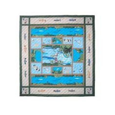 Patch Magic Qqffsh Fly Fishing, Quilt Queen 85 x 95 inch, Blue