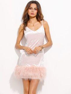 Pink Velvet Faux Fur Trim Slip Dress