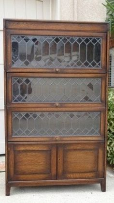 antique tiger oak lawyer barrister leaded glass stacking bookcase layaway