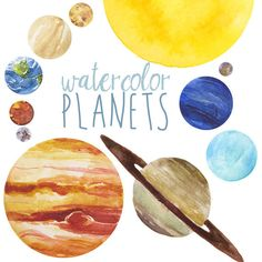 Watercolor Planets Clip Art set, Solar System, Science Clip Art, Universe…