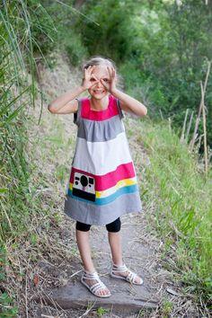 Girls INSTAMAGIC Vintage Polaroid Camera Dress... Sizes 12/18 through 12