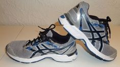 Asics Men's Running Shoes Gel Excite 4 A  Silver Black Blue Sz 9.5 VGC #ASICS #Runningshoes