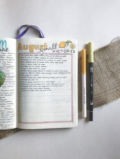 Practicing self-care in your bullet journal with a small victories log